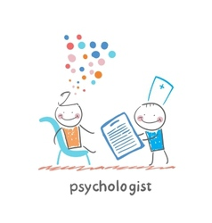 Psychologist with a folder and the patients head vector