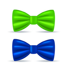 realistic drawing solemn bow tie green and blue vector image vector image