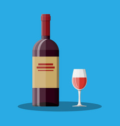red wine bottle and glass wine alcohol drink vector image vector image
