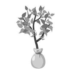 Seedling icon gray monochrome style vector