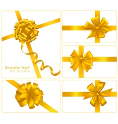 set of gold gift bows with ribbons vector image vector image