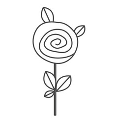 Silhouette sketch rose with leaves and stem vector