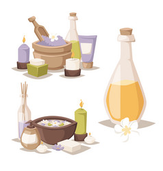 Spa icons treatment beauty procedures vector