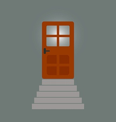 Staircase to the door behind which light vector