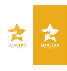 star and hands logo combination leader and vector image vector image