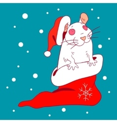 The white rat in a new year cap and sock vector
