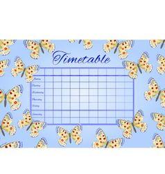 Timetable butterflies parnassius school timetable vector