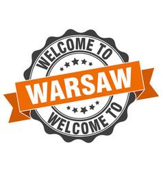 Warsaw round ribbon seal vector