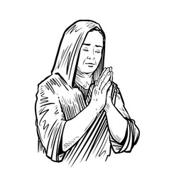 Woman folded her hands for praying sketch vector