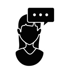 Woman profile with speech bubble vector