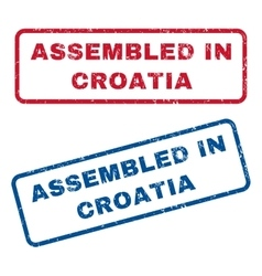 Assembled in croatia rubber stamps vector