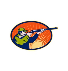 Hunter aiming rifle shotgun side view vector