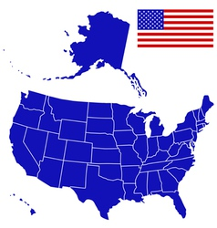 Silhouette map and flag of usa vector
