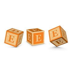 letter E wooden alphabet blocks vector image
