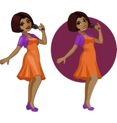 Cute young african american woman singer vector
