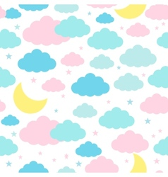 Childish seamless background with moon clouds and vector