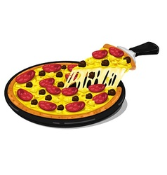 Pizza pepperoni and meatballs slice vector