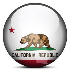 Map on flag button of usa california state vector