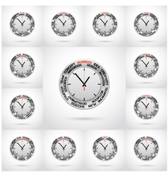 Set of clock red arrow specifies in a word vector