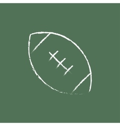 Rugby football ball icon drawn in chalk vector