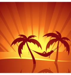 Tropical sunset scene vector
