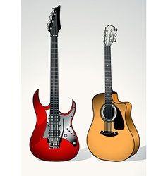 String and electric guitar next to each other vector