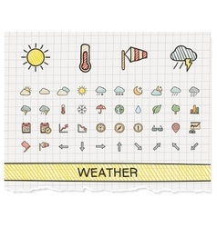 Weather hand drawing line icons doodle vector