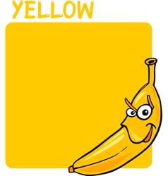 Color yellow and banana cartoon vector