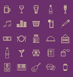 Bar color line icons on purple background vector