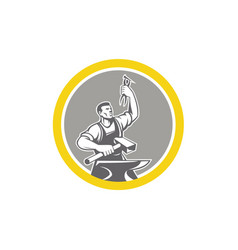 Blacksmith worker holding pliers anvil circle vector
