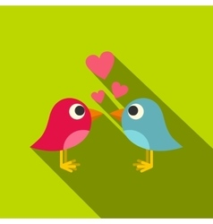 Blue and pink birds with hearts icon flat style vector