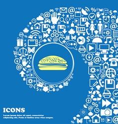 Burger hamburger sign icon nice set of beautiful vector