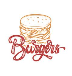 burgers hand written lettering logo label badge vector image vector image