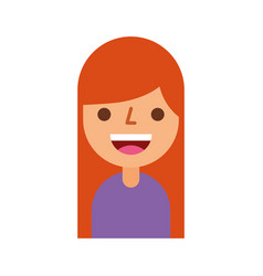 Cartoon girl female character profile people young vector