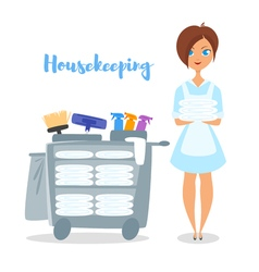 cartoon style of hotel housekeeper vector image