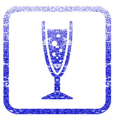 Champagne glass framed textured icon vector
