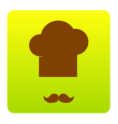 chef hat and moustache sign brown icon at vector image vector image
