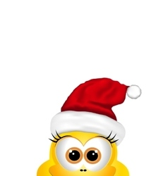Christmas background with chicken in Santa hat vector image vector image