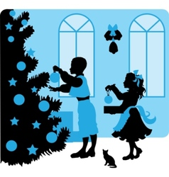 christmas kids silhouettes vector image vector image