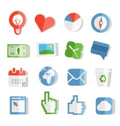 Collection of paper style color web icons vector image vector image