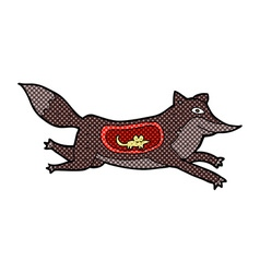 comic cartoon wolf with mouse in belly vector image