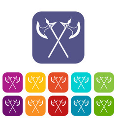 Crossed battle axes icons set vector