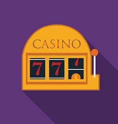 Flat design slot machine icon with long shadow vector