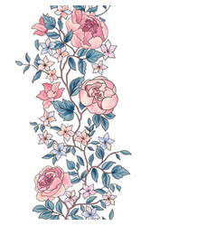 floral seamless pattern flower peony border vector image vector image