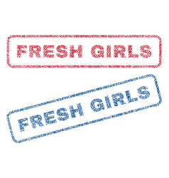 fresh girls textile stamps vector image vector image