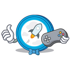 Gamer stellar coin character cartoon vector