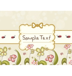 Label with floral vector