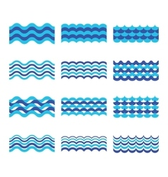 Marine sea ocean waves set vector image vector image