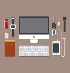 Office workspace top view vector image