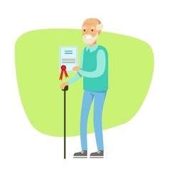 Old man with walking stick holding insurance vector